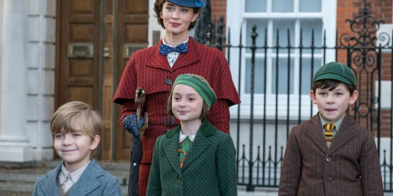 Emily Blunt, Joel Dawson, Pixie Davies and Nathanael Saleh in Mary Poppins Returns.