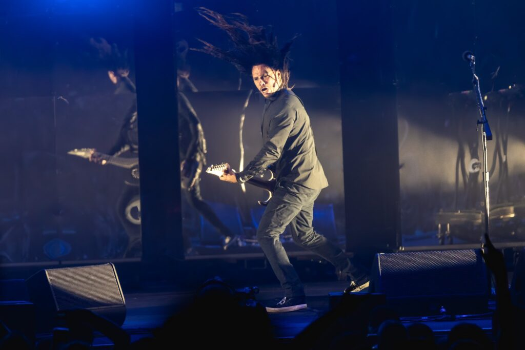 Korn performs at Ak-Chin Pavilion in Phoenix, AZ on August 31, 2019. Photo credit: Brent Hankins