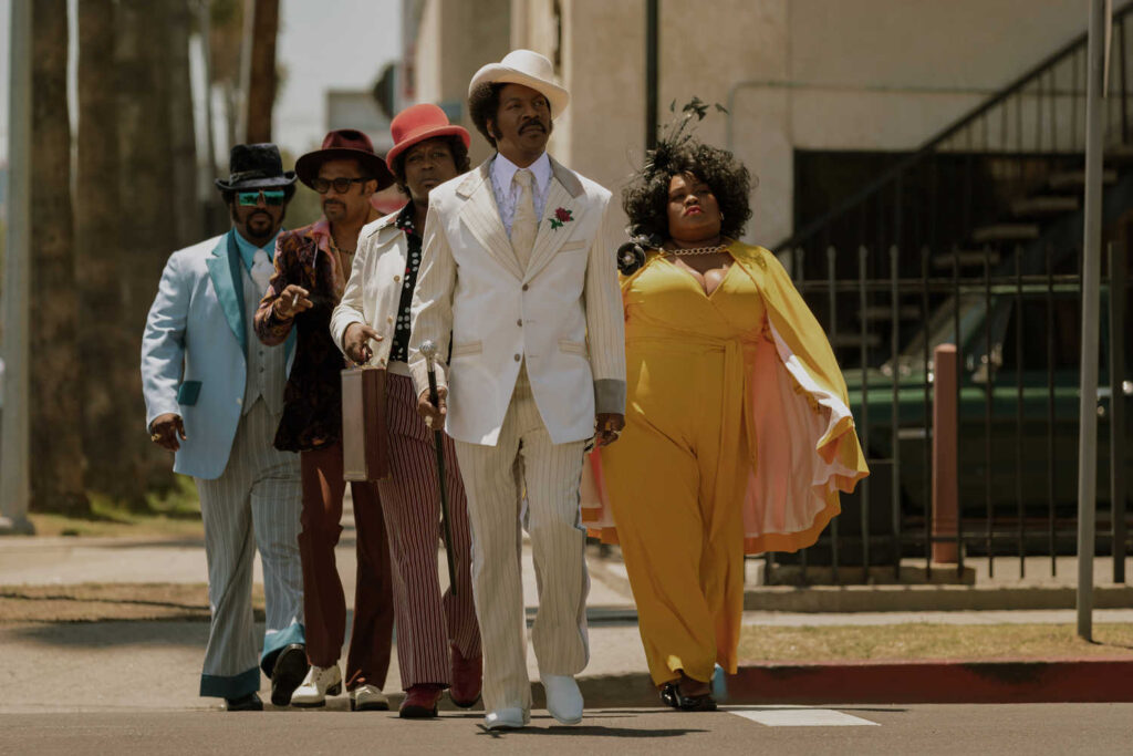 Eddie Murphy, Mike Epps, Craig Robinson, Tituss Burgess, and Da'Vine Joy Randolph in Dolemite Is My Name