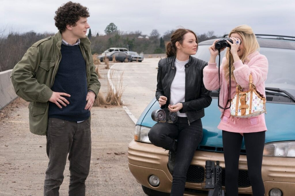 Jesse Eisenberg, Emma Stone and Zoey Deutch in Zombieland Double Tap