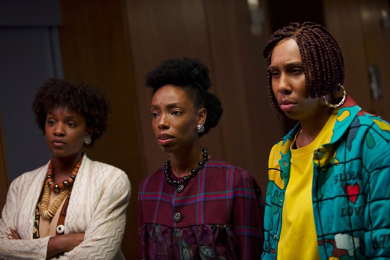 Yaani King Mondschein, Elle Lorraine, and Lena Waithe in Bad Hair, Sundance 2020