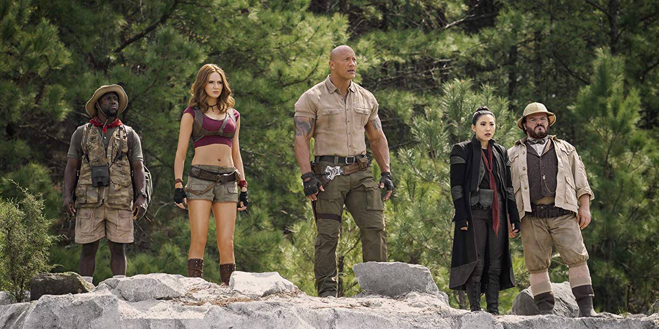 Kevin Hart, Karen Gillan, Dwayne Johnson, Awkwafina and Jack Black in Jumanji: The Next Level