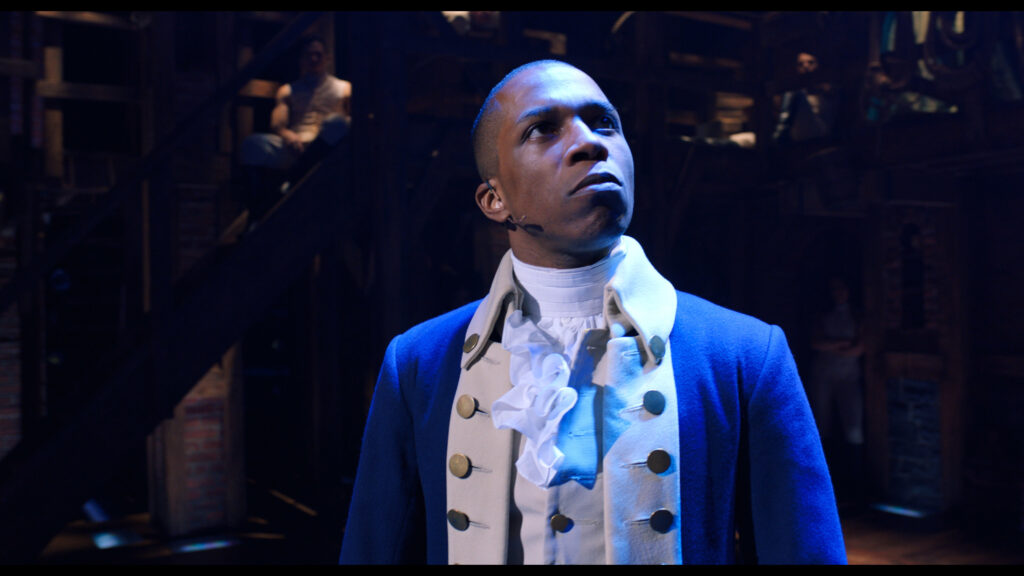Leslie Odom Jr. in Hamilton, the film of the original Broadway production