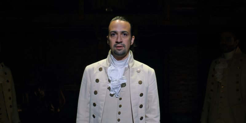 Lin-Manuel Miranda in Hamilton, the film of the original Broadway production